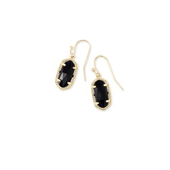 Lee Gold Drop Earrings In Black Opaque Glass