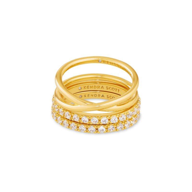 Kendra Scott Kendra Scott Livy Ring Set Of 3 Yellow Metal Size 8