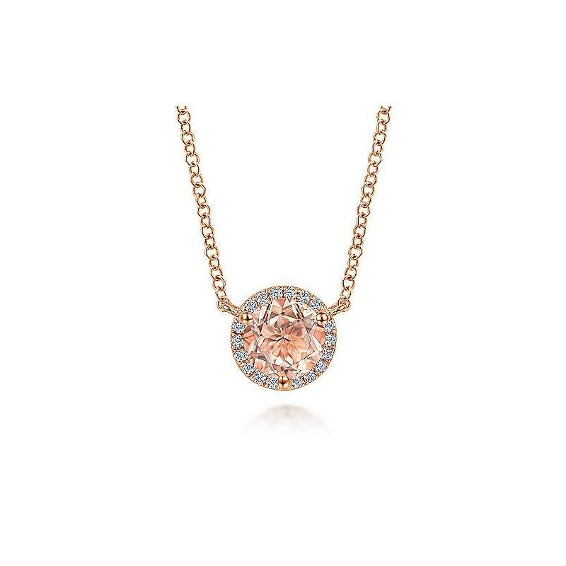 Gabriel Fashion 14K Rose Gold Round Morganite and Diamond Halo Pendant Necklace