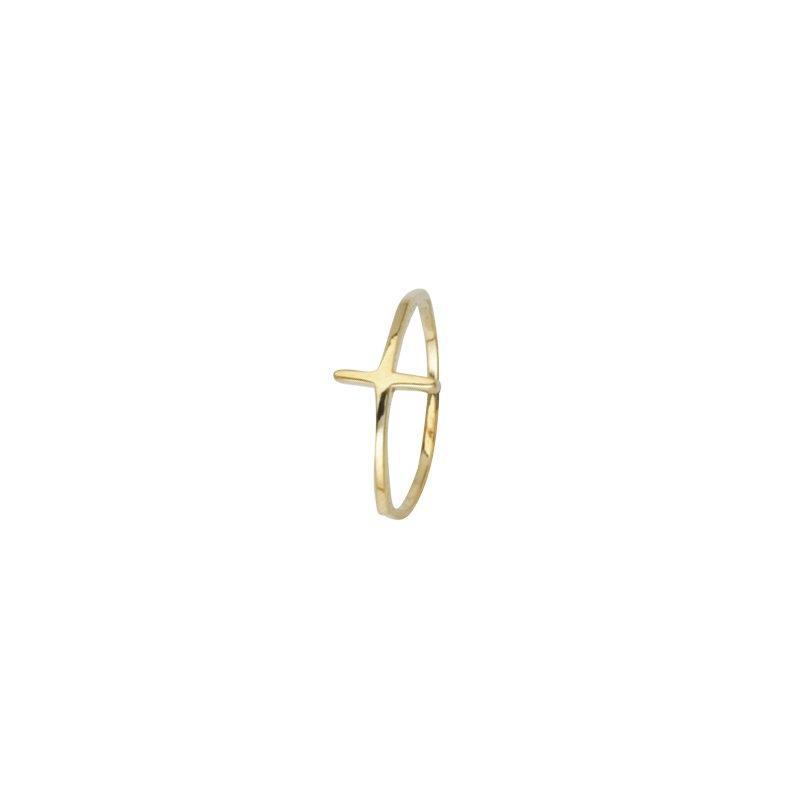 Lasker Gold Fashion East West Cross Ring