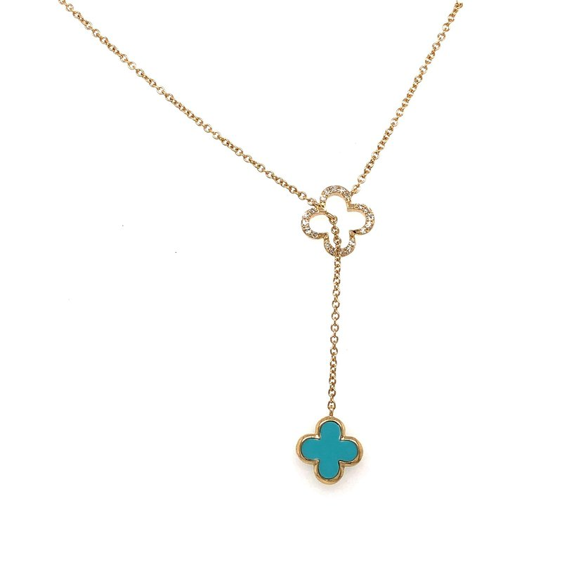 Lasker Gemstone Granada Floral Lariat Necklace with Turquoise
