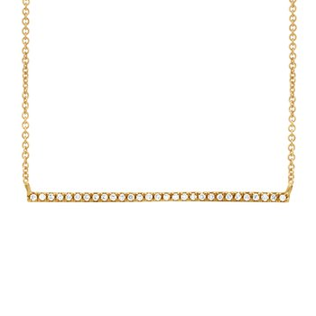 Diamond Bar Necklace - Yellow Gold