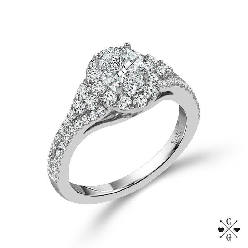 Lasker Bridal Vintage Style Oval Halo Ring