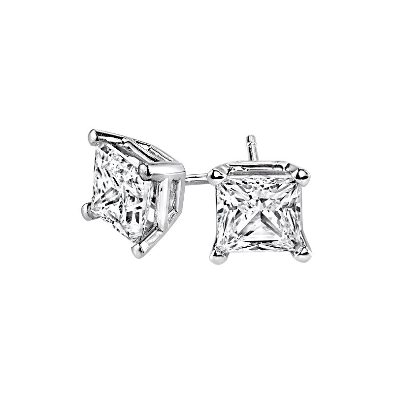 Lasker Diamond Fashion Princess-Cut Stud Earrings - 1/5cttw