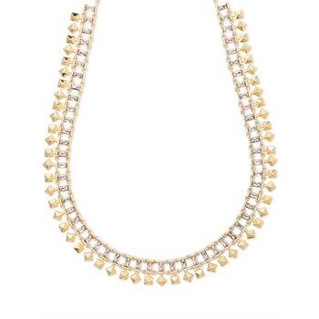 Oscar Gold Choker Necklace In Smoky Crystal