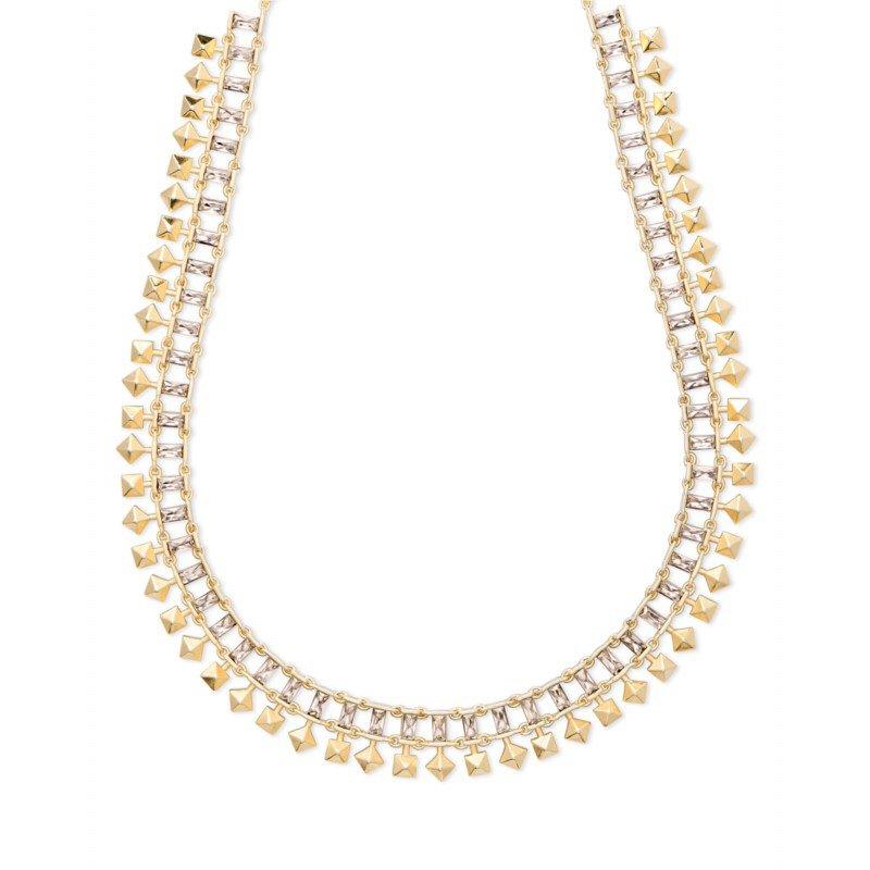 Kendra Scott Oscar Gold Choker Necklace In Smoky Crystal