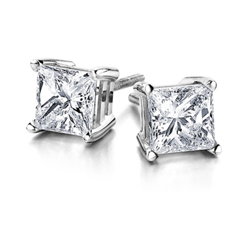Princess-Cut Stud Earrings - 1/3cttw
