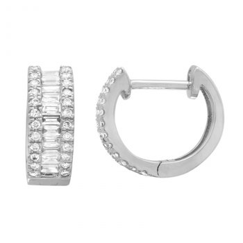 On trend baguette diamonds in hoop earrings