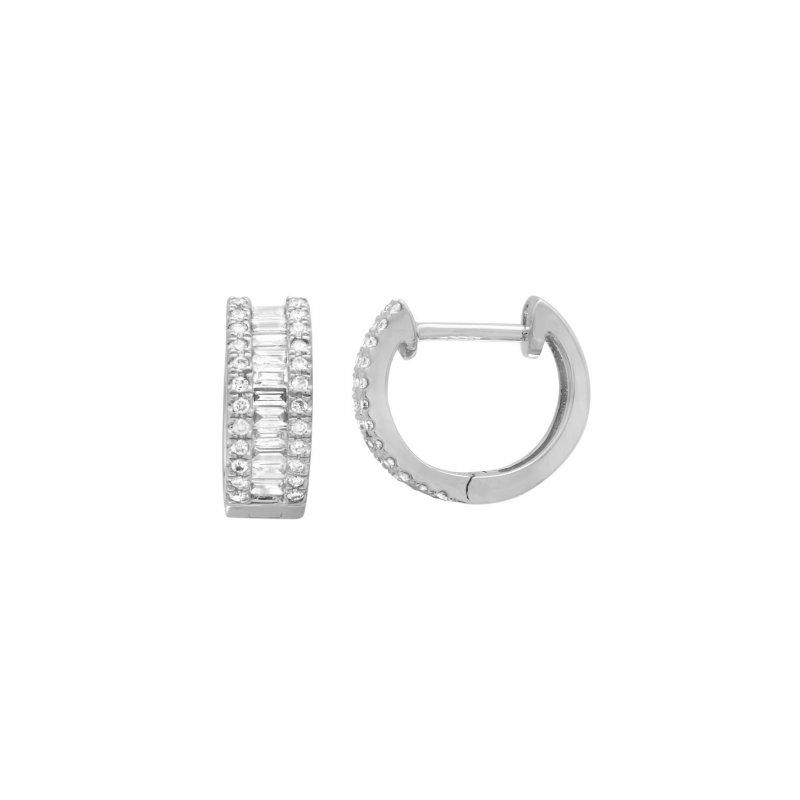 Lasker Diamond Fashion On trend baguette diamonds in hoop earrings