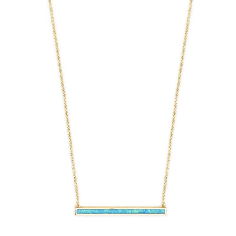 Kendra Scott Kelsey Gold Pendant Necklace In Turquoise Kyocera Opal