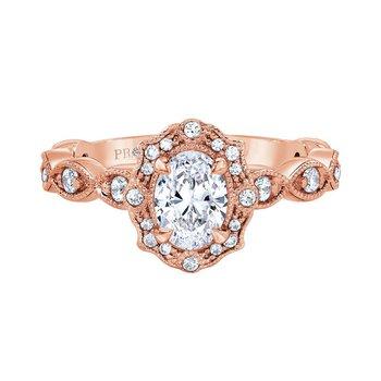 Bella Vintage Ring in Rose Gold - 3/4ct Oval Center