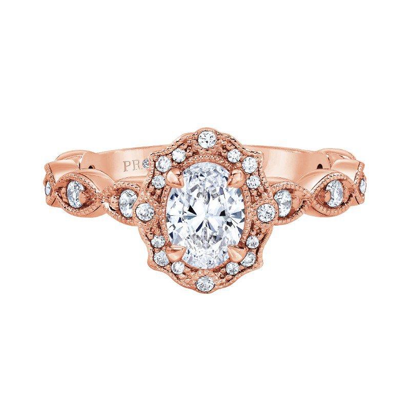 Lasker Bridal Bella Vintage Ring in Rose Gold - 3/4ct Oval Center