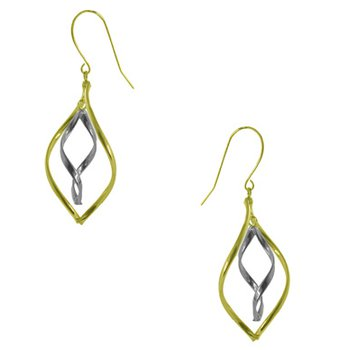 14Kt 2-Tone Dangle Earrings