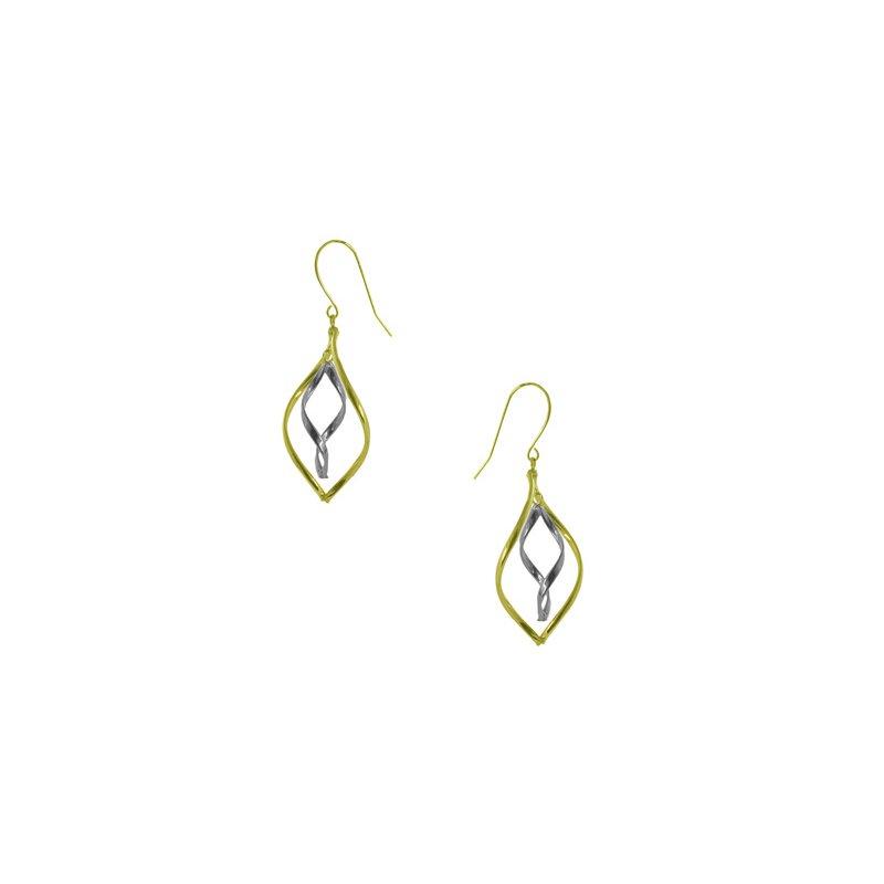 Lasker Gold Fashion 14Kt 2-Tone Dangle Earrings