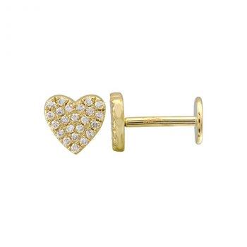 Pave Heart Diamond Earring