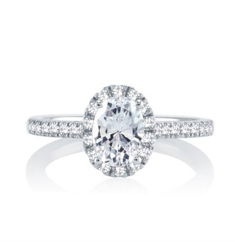 Classic Oval Halo Ring - 1/2ct Center Diamond