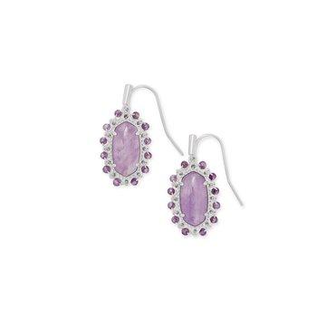 Beaded Lee Silver Drop Earrings In Purple Amethyst