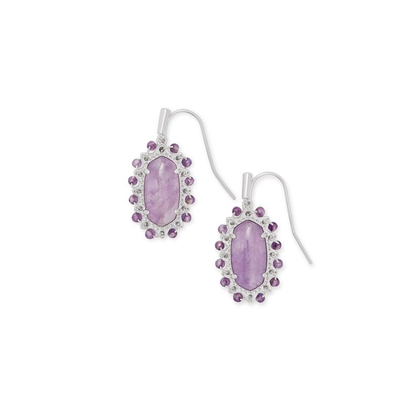 Kendra Scott Beaded Lee Silver Drop Earrings In Purple Amethyst