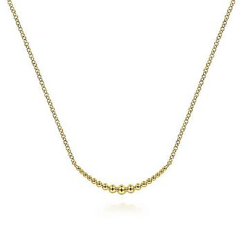 14K Yellow Gold Graduating Bujukan Bead Curved Bar Necklace