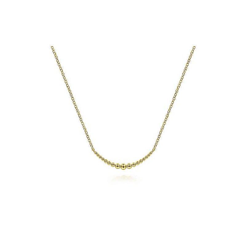 Gabriel Fashion 14K Yellow Gold Graduating Bujukan Bead Curved Bar Necklace