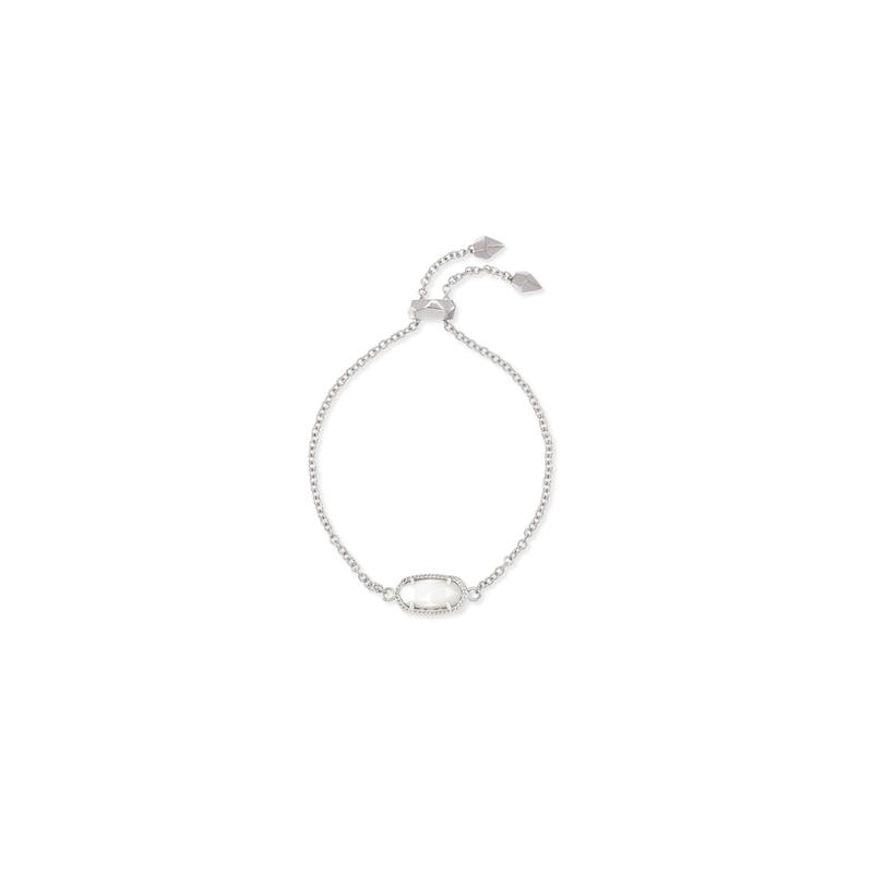 Kendra Scott Elaina Silver Adjustable Chain Bracelet In Ivory Pearl