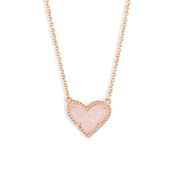 Ari Heart Rose Gold Pendant In Pink Drusy