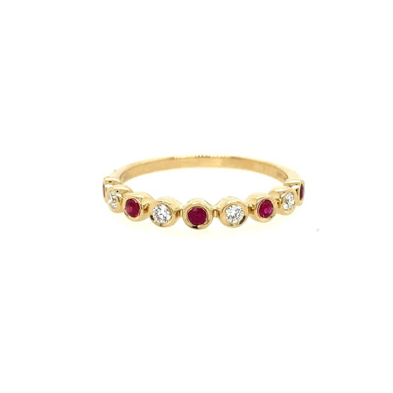 Lasker Gemstone Ruby and Diamond Stackable Band