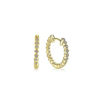 14K Yellow Gold Alternating Square and Round Diamond Huggie Earrings