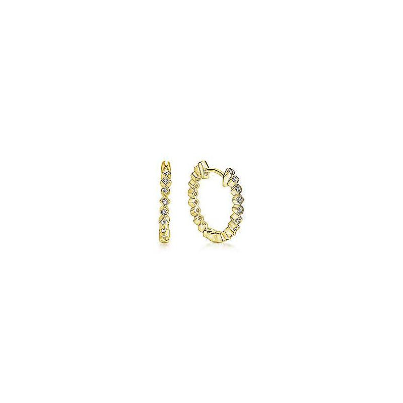 Gabriel Fashion 14K Yellow Gold Alternating Square and Round Diamond Huggie Earrings