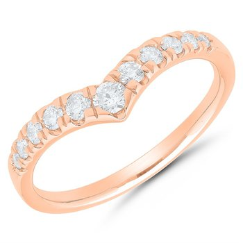 Diamond Chevron Band In Rose Gold - 1/4cttw