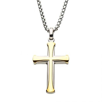 Stainless Steel and Gold Plated Cross