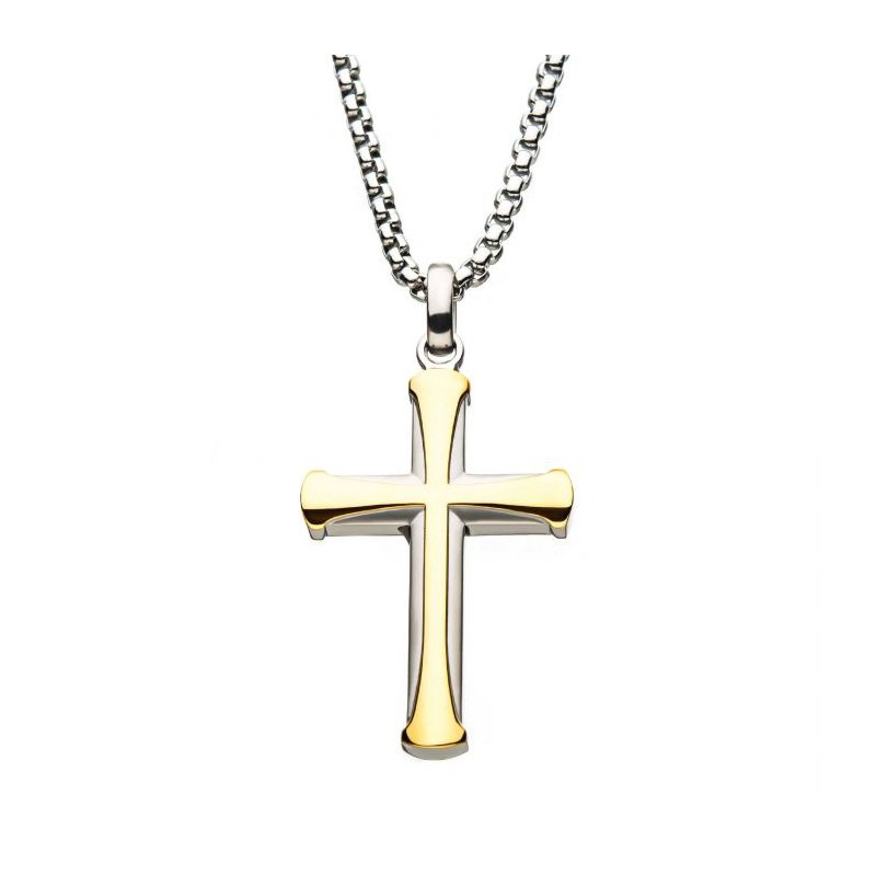 Lasker Men's Stainless Steel and Gold Plated Cross