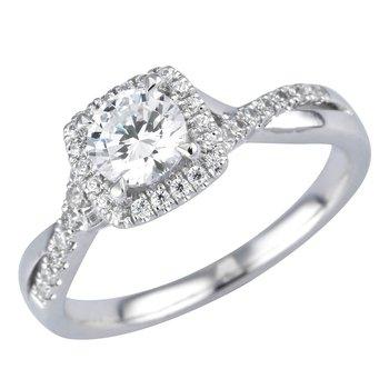 Royal Halo Ring - 1/2ct Center Diamond