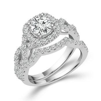 Lasker Value!  1ct Center Diamond Halo Engagement Set