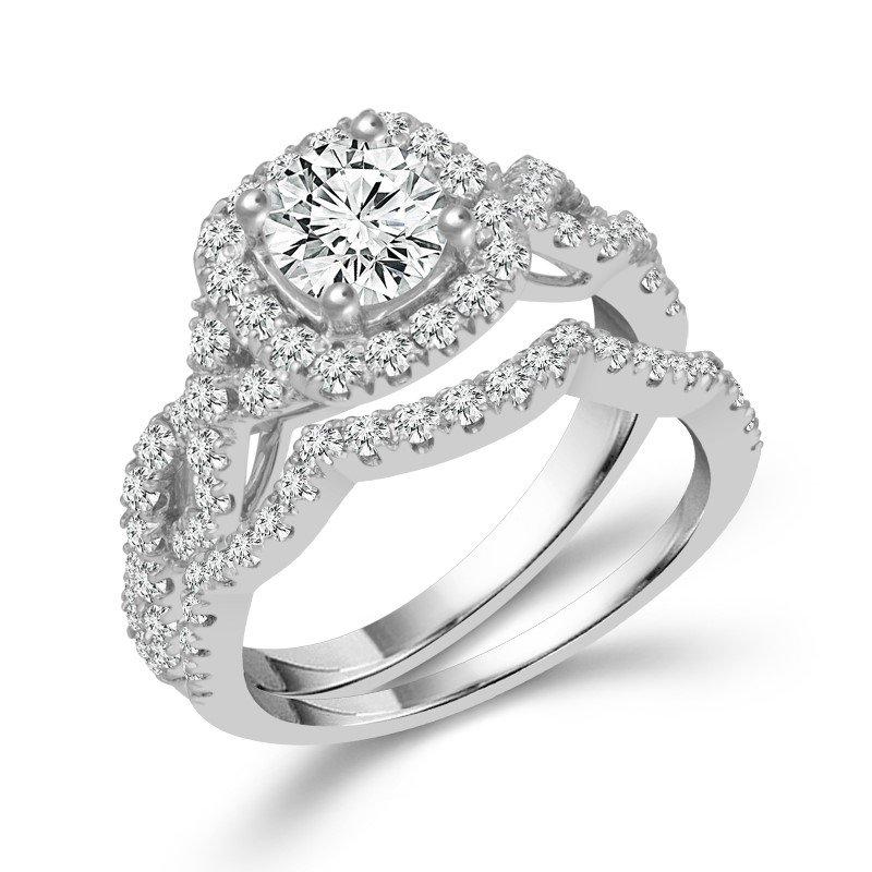 Lasker Bridal Lasker Value!  1ct Center Diamond Halo Engagement Set