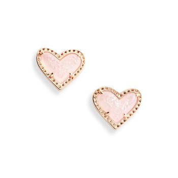 Ari Heart Stud Earrings In Pink Drusy