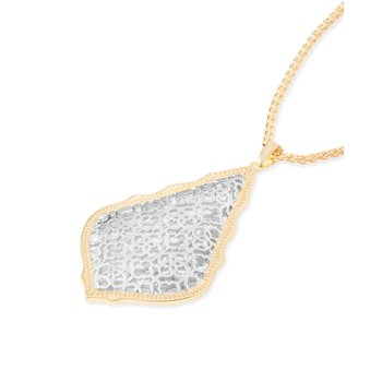 Aiden Gold Long Pendant Necklace In Silver Filigree Mix