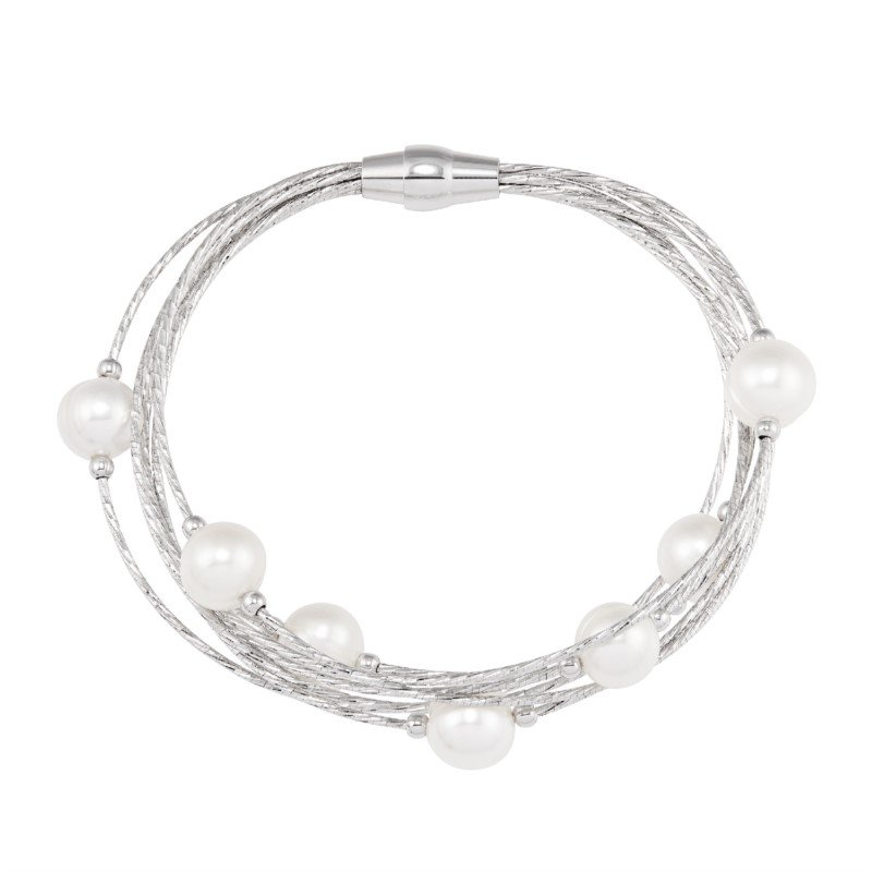 Lasker Pearl Fashion Pearl Station Bracelet with 7 Rows