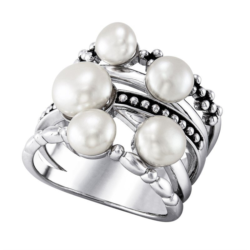 Lasker Pearl Fashion Pearl CrissCross Ring