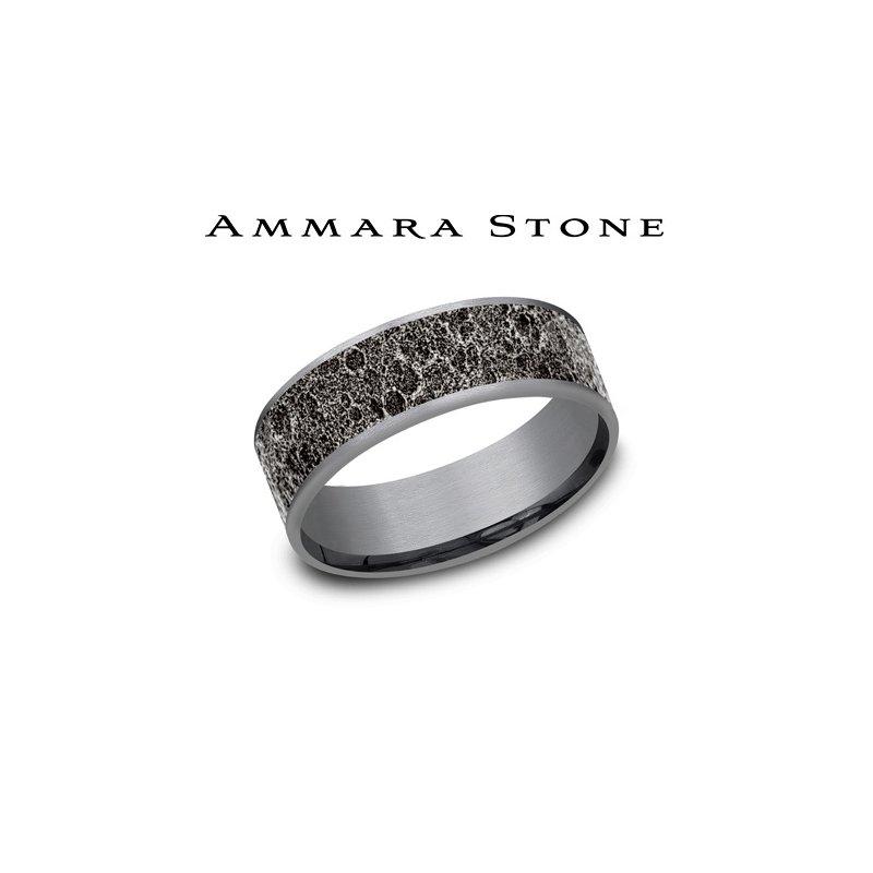Lasker Men's Amara Stone - Grey Tantalum & 14KT White Gold