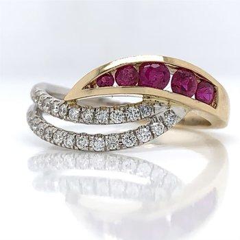 De Leo Diamond and Ruby Fashion Ring