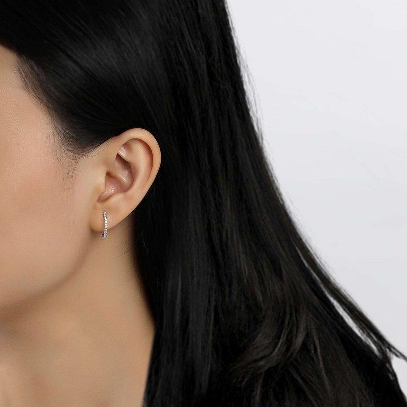 LaFonn Silver Huggie Hoop Earrings