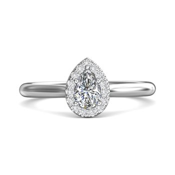 Petite Pear Halo Ring