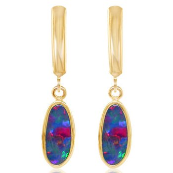 Australian Opal Doublet Leverback Earrings