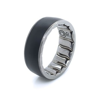 8mm Black Ceramic Inlay Band with Gunmetal Finish