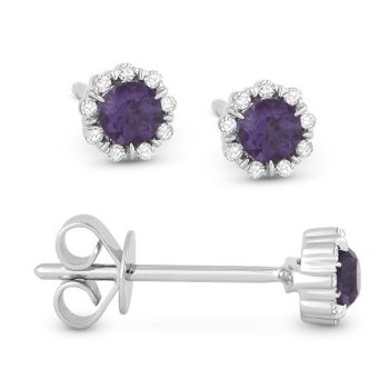 Created Alexandrite & Diamond Stud Earrings
