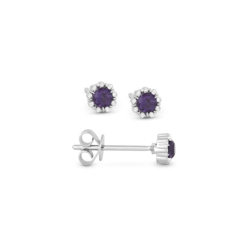 Lasker Gemstone Created Alexandrite & Diamond Stud Earrings