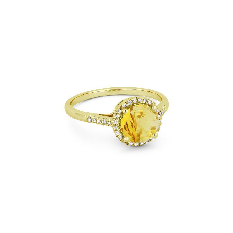 Lasker Gemstone Citrine and Diamond Ring