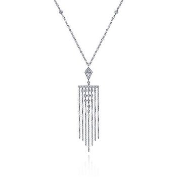 14K White Gold Fringe Diamond Pendant Necklace
