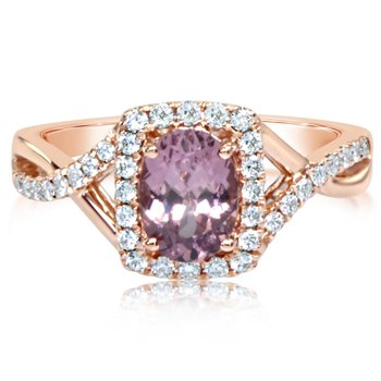 Halo Twist Lotus Garnet Ring
